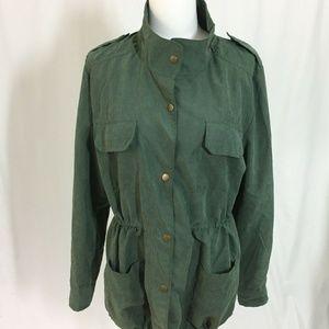 Umgee USA Jacket Green Roll Tab Sleeves M